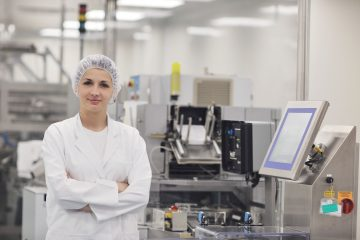 woman worker in pharmacy company warehouse