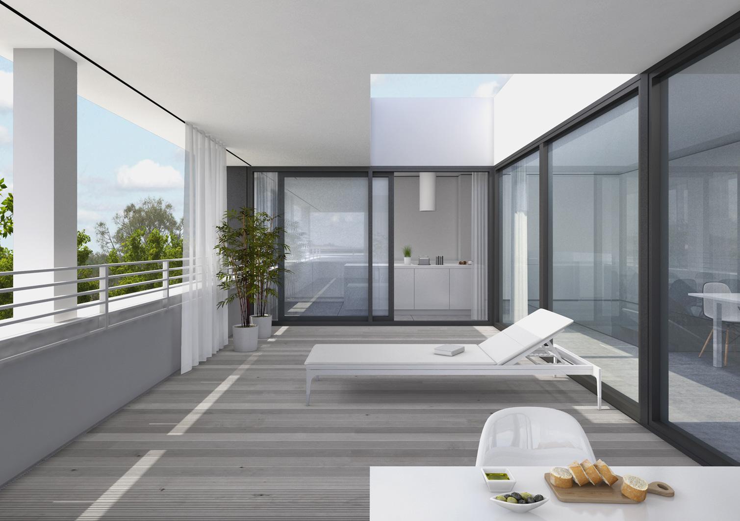 Dwupoziomowe apartamenty na ostatniej kondygnacji oprócz powierzchni blisko 140 m kw. oferują przestronne tarasy.