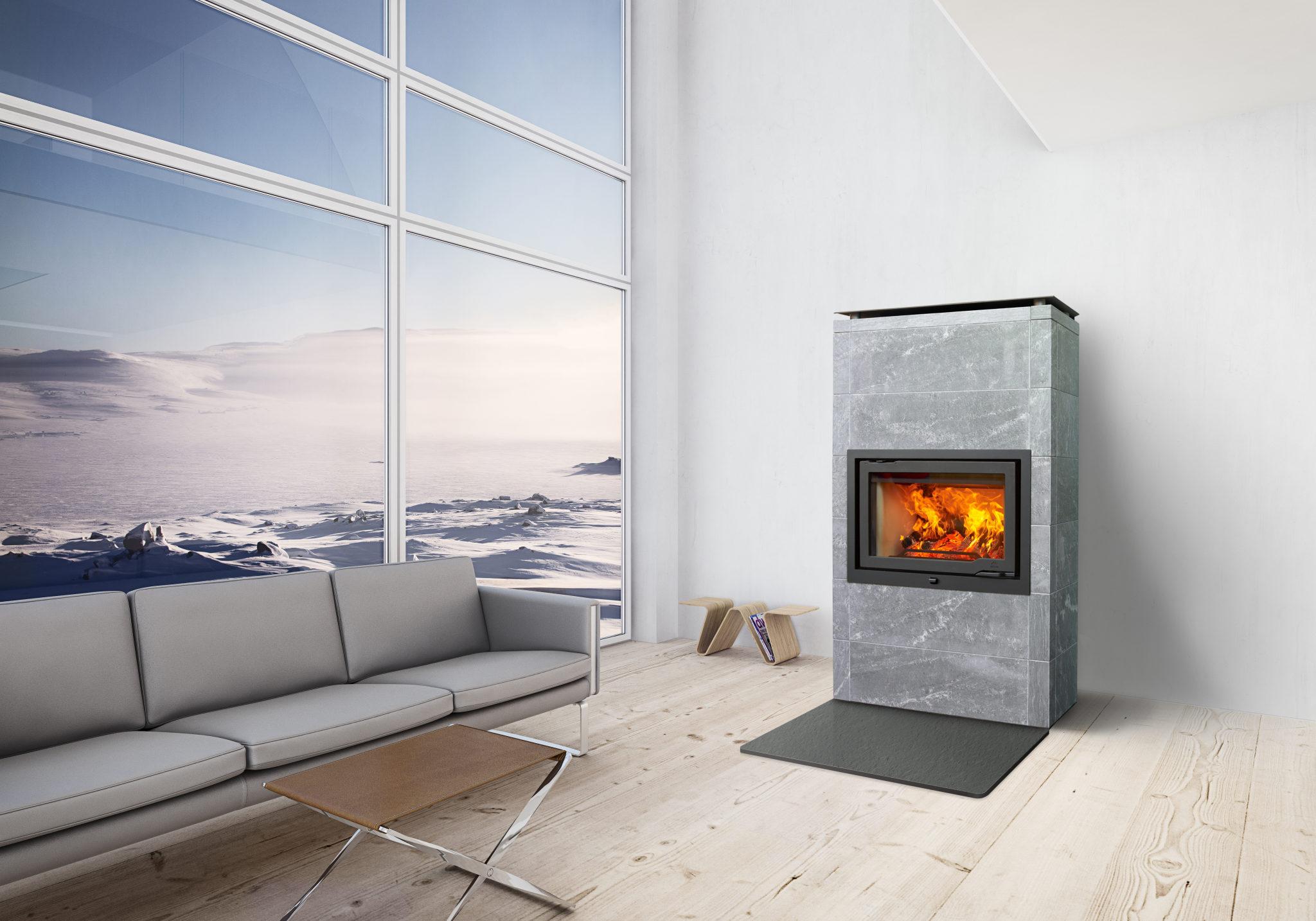Jøtul FS 166 jest idealnym rozwiązaniem dla ogrzewania dużych pomieszczeń. Steatyt dodatkowo magazynuje ciepło i powoli oddaje je do wnętrza – nawet do 12 godzin po wygaśnięciu ognia!