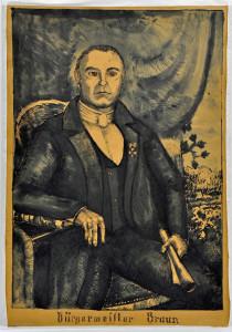 Portret niezłomnego burmistrza Brauna z Muzeum w Koszalinie. Karton, tusz piórkiem i pędzlem, przełom XIX i XX w.