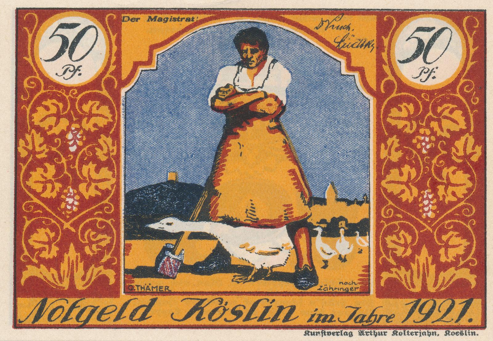 Koszaliński banknot targowy, 1921.
