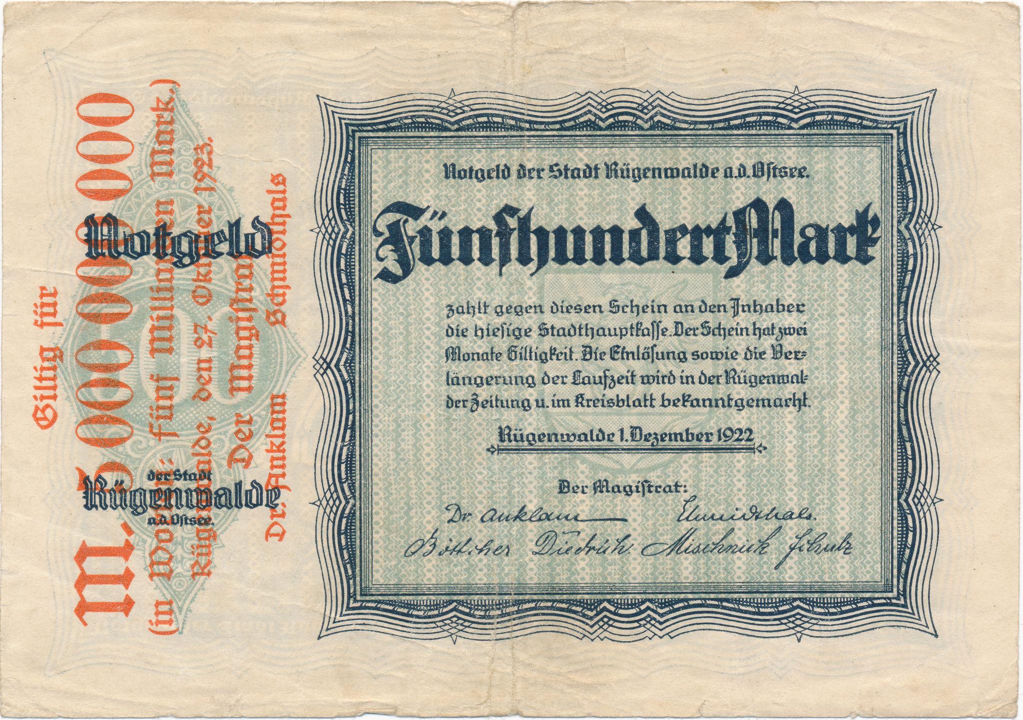 5 mld marek z Darłowa, 1922.