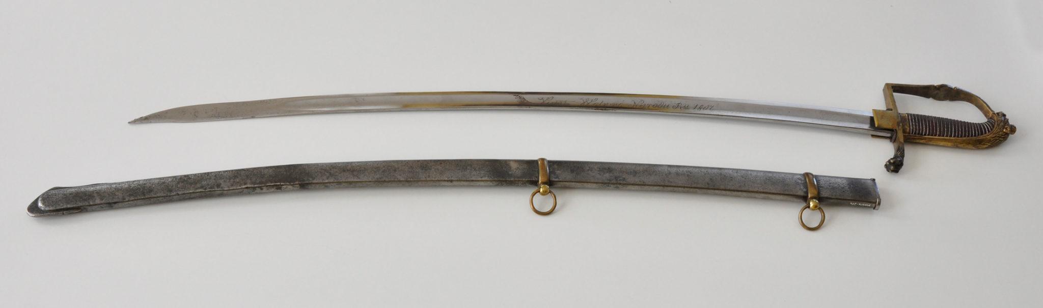 Polska szabla z początku XIX w. Możliwe, że tego egzemplarza użyto w walkach na Pomorzu. Zbiory Muzeum Narodowego w Szczecinie.