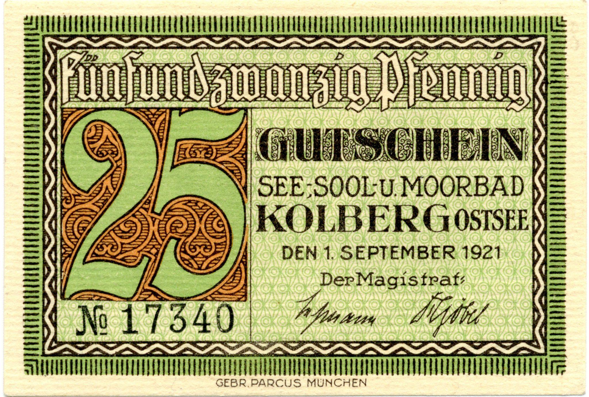 Kołobrzeski pieniądz zastępczy, 1921.