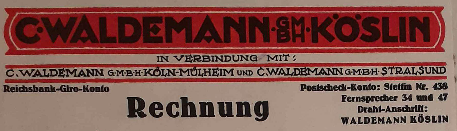Winieta rachunku oraz logo Fabryki Carla Waldemanna z drugiej połowy lat dwudziestych ubiegłego stulecia. W tym czasie koszalińskie przedsiębiorstwo miało swe oddziały w Kolonii i Stralsundzie (ze zbiorów Studia Reklamy Kruart).